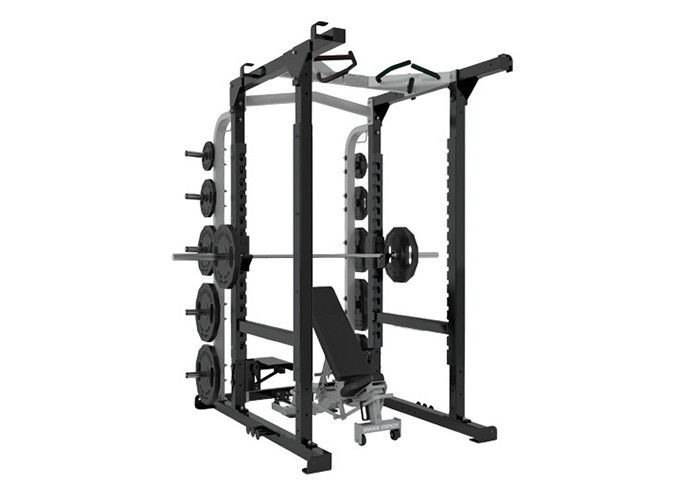 Bodybuilding Commercial Multi Station Gym Equipment , Half Power Squat Rack Machine